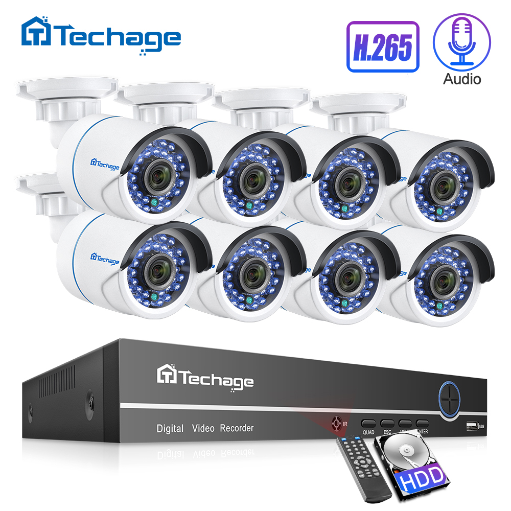 H.265 Sicherheit CCTV System 8CH 1080P POE NVR Kit 2.0MP 8PCS Audio Sound CCTV IP Kamera P2P IR -Cut Outdoor Video Überwachung Set