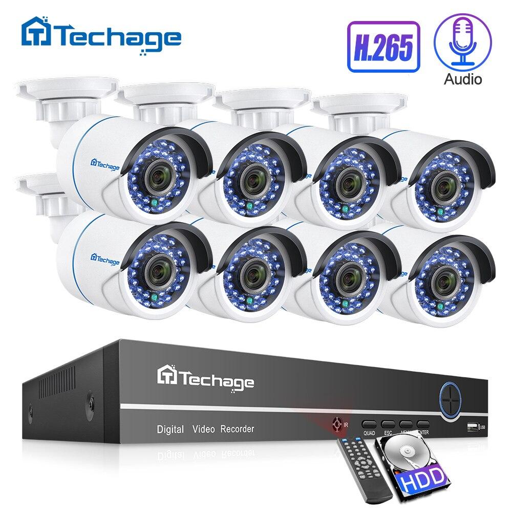 Sistema De CFTV de Segurança 8CH H.265 1080P POE NVR Kit 2.0MP P2P 8PCS Som De Áudio CCTV Câmera IP IR -corte Conjunto de Vigilância de Vídeo Ao Ar Livre