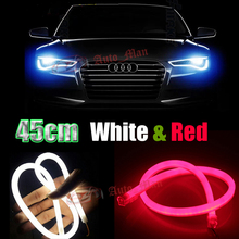 2x 45cm White & Red Switchback Tube Style Flexible DRL LED Strip with Turn Signal for Car Motorcycle Headlight Angel Eyes E029
