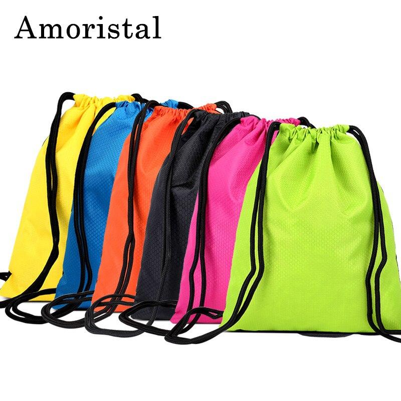 Nylon Drawstring Bag High Quality Men Football Bags Women String Sack Backpack Folding Oxford Waterproof Shopping