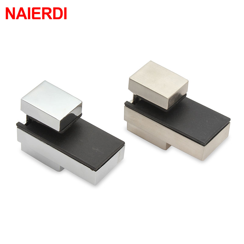 NAIERDI Zinc Alloy Adjustable Glass Clamps Glass Plated Brackets Chrome Alloy Shelf Holder Support Clamp Holder Glass Shelves