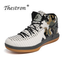 THESTRON Basketball Shoes For Kids High Top Sneakers Quality Male Boots Men Black Red Sport