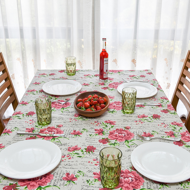 2017 New Spring Linen Table Cloth Flora Print Words Vintage High Quality  Tablecloth Table Cover Manteles