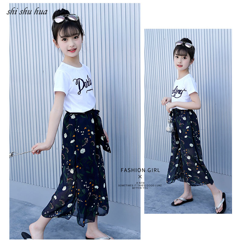 Girls Clothing Sets Cotton Short sleeved Letter T shirt Wide leg Pants Roupas Infantis 4 13 Y Child Quality Kids Clothes 2019 in Clothing Sets from Mother Kids