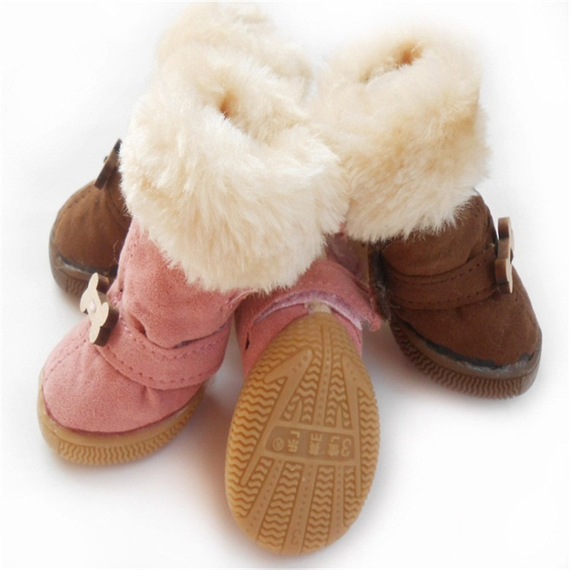 High quality winter dog shoes super Warm fur Snow Boots pet shoes For Teddy Poodle Puppy Rubber Sole Coffee/Pink/Purple 1429