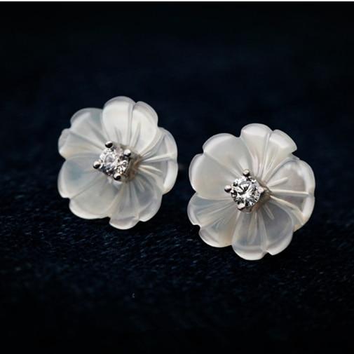 Mother Of Pearl S Flower 925 Sterling Silver Stud Earrings For Women Cute Jewelry Bijoux In From