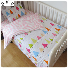 Promotion! 3PCS  Cartoon baby crib bedding set 100% cotton curtain crib set,(Duvet Cover+Sheet+Pillowcase)