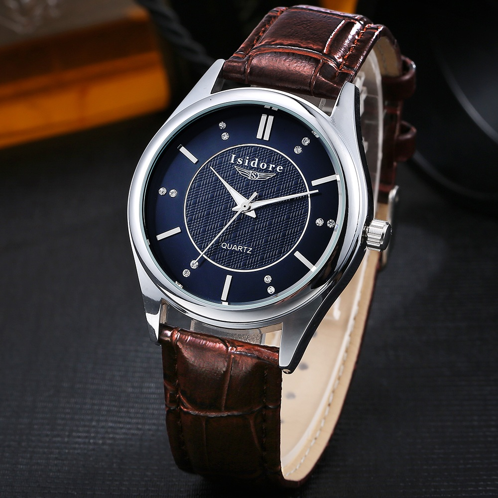 Luxury Casual Man Super Soft Leather Band Waterproof Quartz Wristwatch Top Brand Crystal Dial Man Business