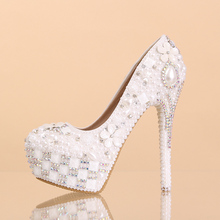 White pearl wedding shoes 14cm heel snow white women wedding shoes up heel platform shoes round toe shallow mouth pumps