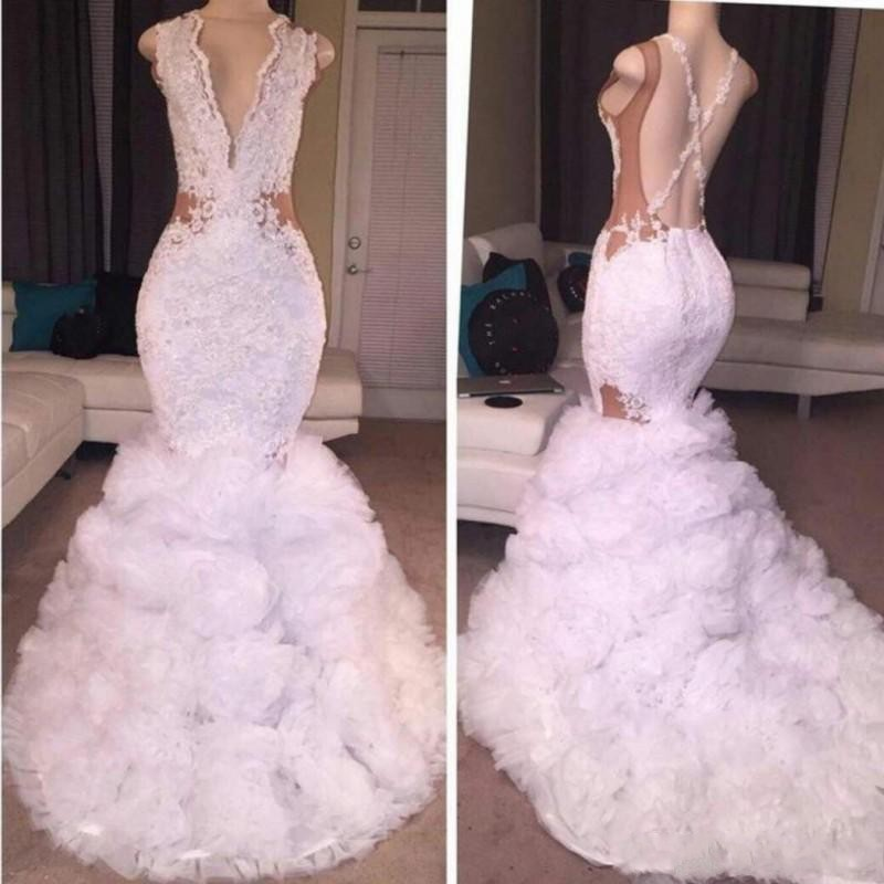 Sexy Long 2019  Dresses Mermaid Long Pageant Gown Vestidos De Festa Formal Gowns Applique abiye V Neck 2018 Dress White