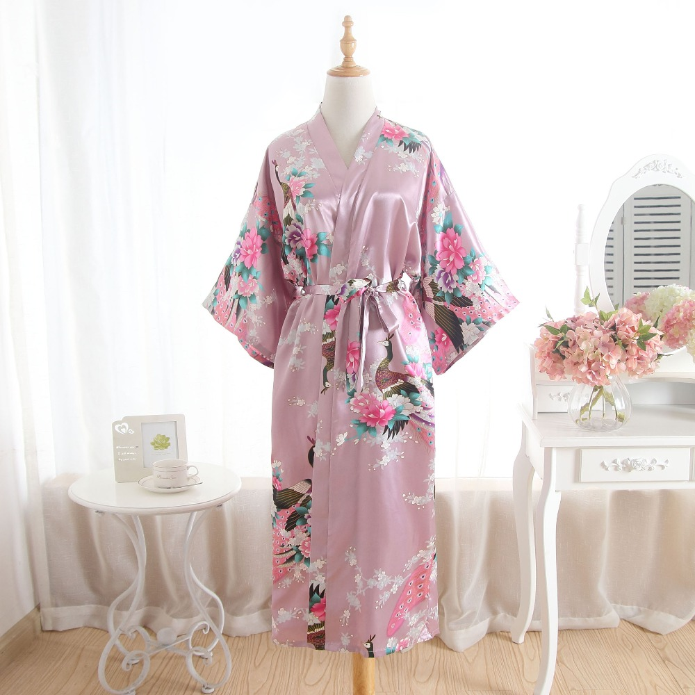 Women Silk Satin Long Wedding Bride Bridesmaid Robe Floral Kimono Robe Feminino Bath Robe Big Size Peignoir Femme Sexy Bathrobe