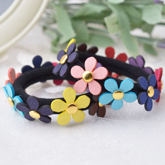 Beautiful Girls Colorful Flower Ponytail Holder Rope Elastic Hair Bands  flowers Kids Accessories f4ac40e5f67