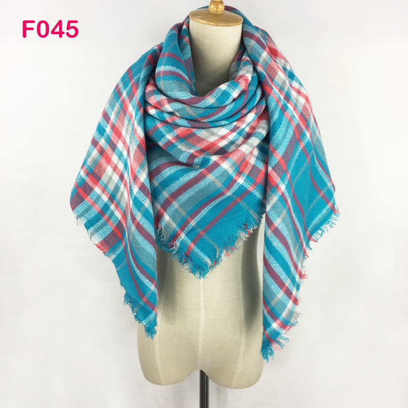 Za Design Winter Pashmina Soft Textile Square Plaid Blanket   Scarf   Women Tartan Cashmere   Wrap   Shawl Neck Warmer 140 x 140cm