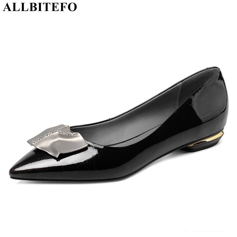 ALLBITEFO Full Genuine Leather Comfortable Office Ladies Shoes Autumn Low-heeled Party Women Shoes Women Heels Size:33-43