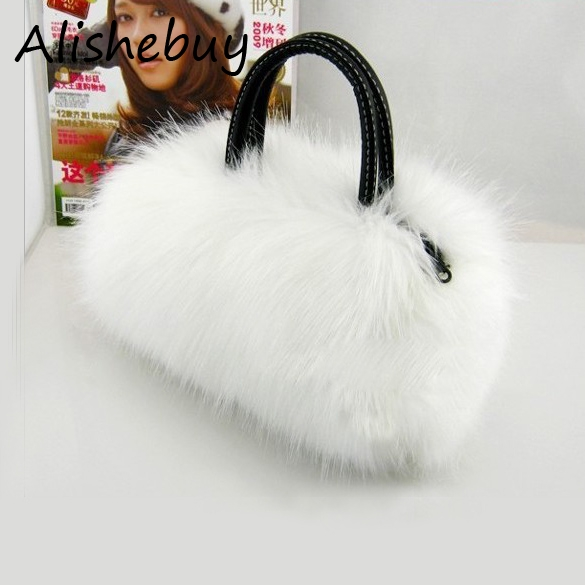 Sweet Lovely Fur Bags Mini Clutch Evening Bags Messenger Evening Ladies Winter Faux Fur Totes Strap Crossbody Bag Coin 8255