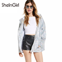 SheInGirl Spring bomber jacket women 2017 Sliver Sequins basic coat Hooded Zipper Pockets female jacket womens autumn jackets