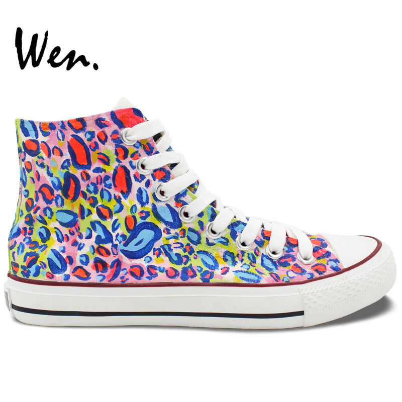 Wen Colorful Hand Painted Shoes Design Custom Leopard Pattern High Top Women Men's Canvas Sneakers polmedia polish pottery 5 inch stoneware bowl h7021e hand painted from cer maz in boleslawiec poland shape s187c 34 pattern p6200a d58