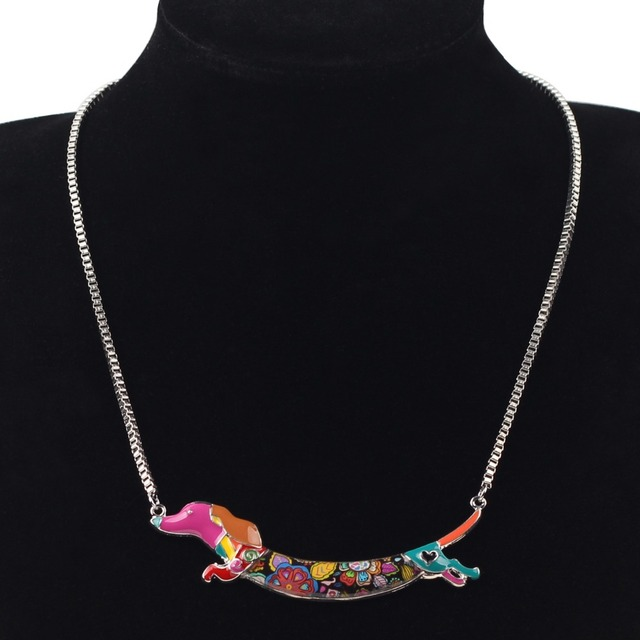 Bonsny Dachshund Dog Choker Necklace Pendant