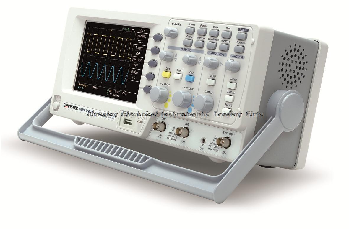 Oscilloscope numérique Gwinstek à arrivée rapide GDS-1102-U DSO, 250MSa/s, 100 MHz, 2 canaux, écran couleur TFT 5.7