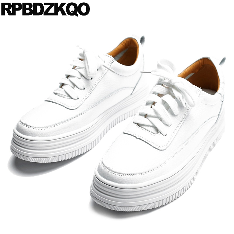 Flats Ladies Beautiful Shoes Thick Sole Plain Platform China Sneakers Creepers Casual Walking Lace Up Muffin Elevator White Drop