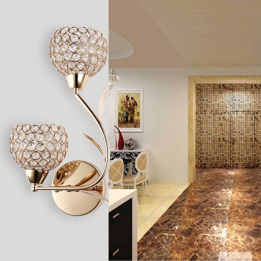 € 44.68 |Applique en cristal applique murale chambre lampe de chevet bougie  double tête applique murale pour chambre éclairage de maison de luxe ...