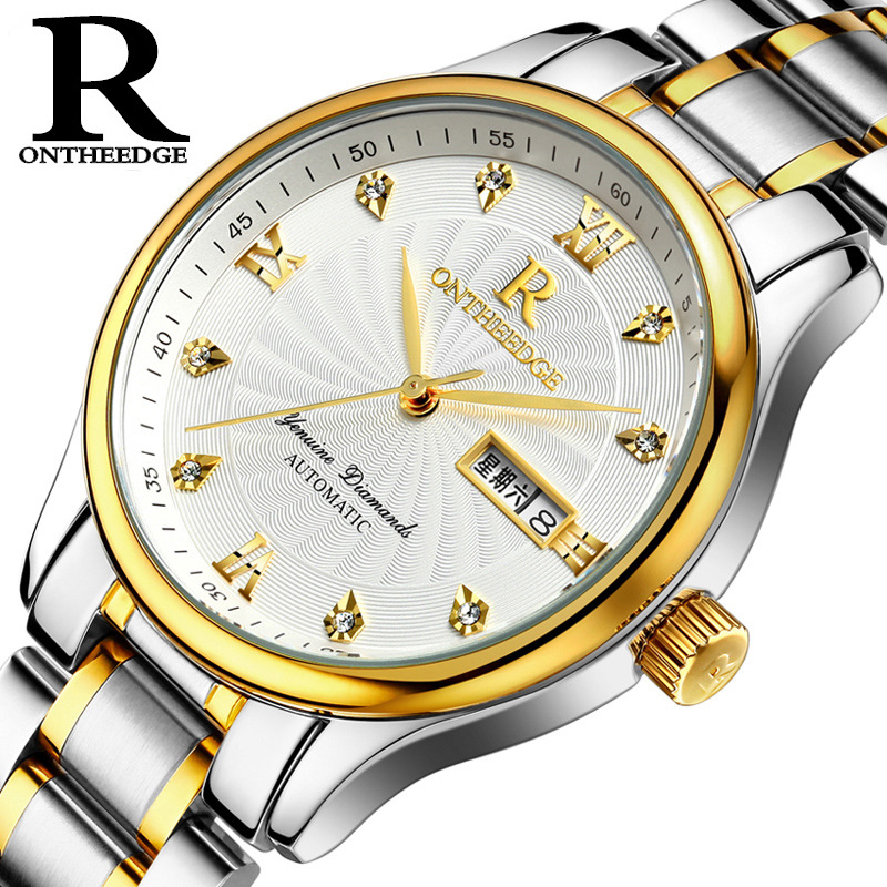 все цены на Fashion men's stainless steel wrist watch waterproof calendar Business man Quartz watches Diamond luxury brands male clocks 2017 онлайн