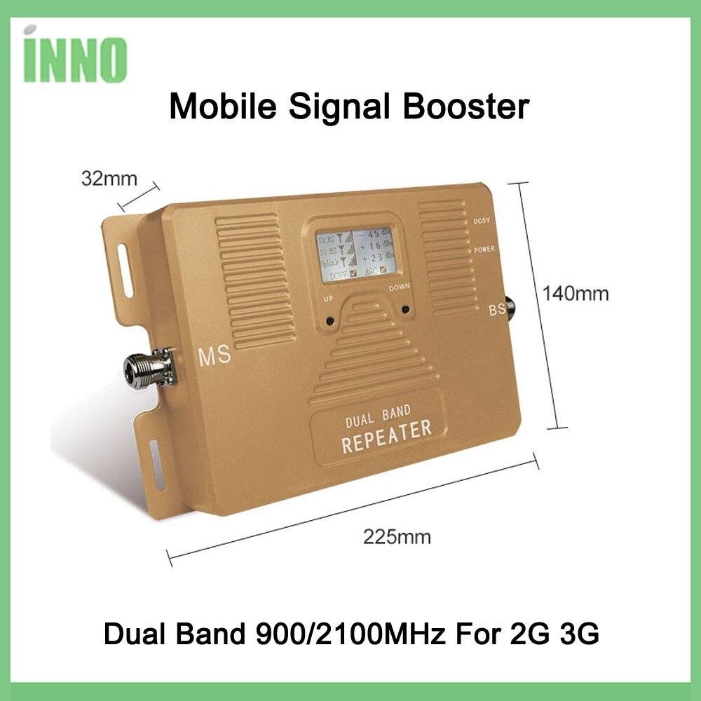 Complètement Futé! Double bande 900/2100 mhz vitesse 2g 3g signal mobile booster signal amplificateur répéteur de téléphone portable avec kit d'affichage LCD - 2