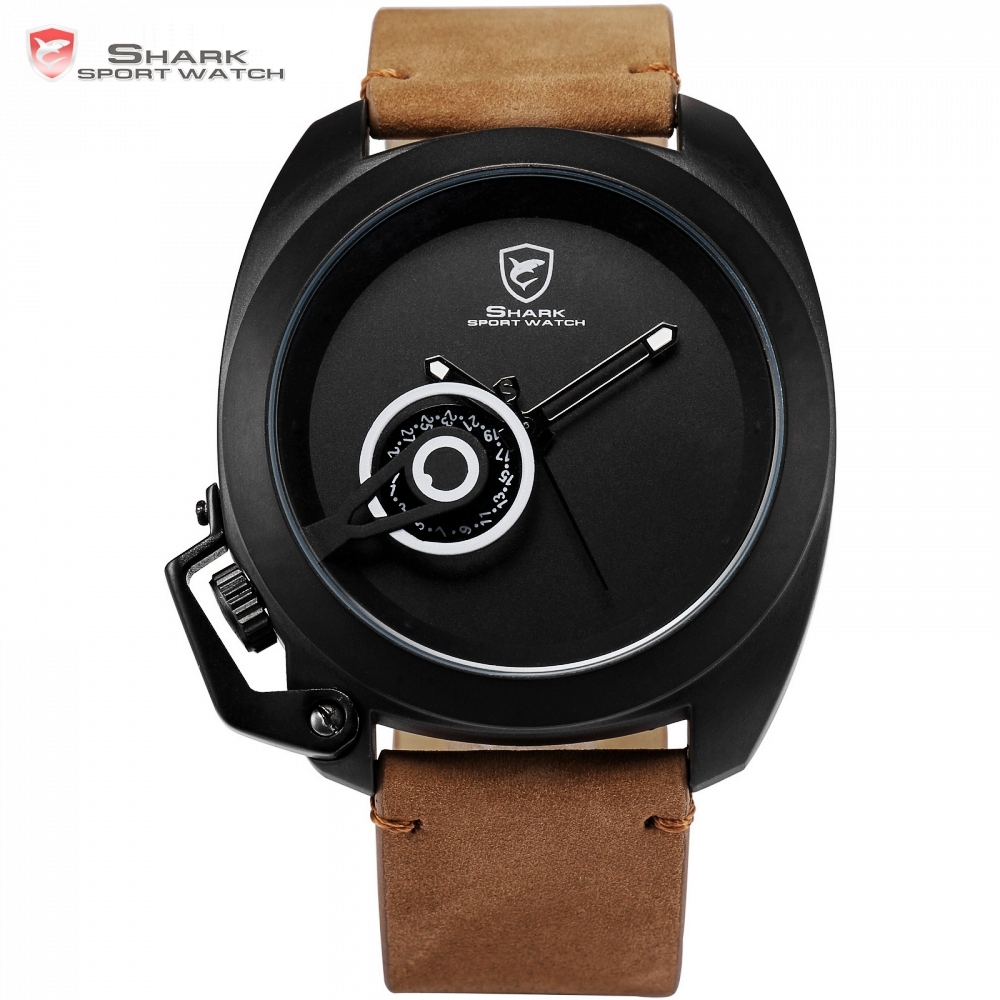 Tawny Shark Sport Watch Luxury Brand Date Display Left Crown Button Brown Leather Strap Men Military