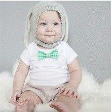 Осень-зима кролик уши ребенка вязаные шапки шапка ребенка в тепле вязание милый прекрасный серый черный уха кролика шляпу