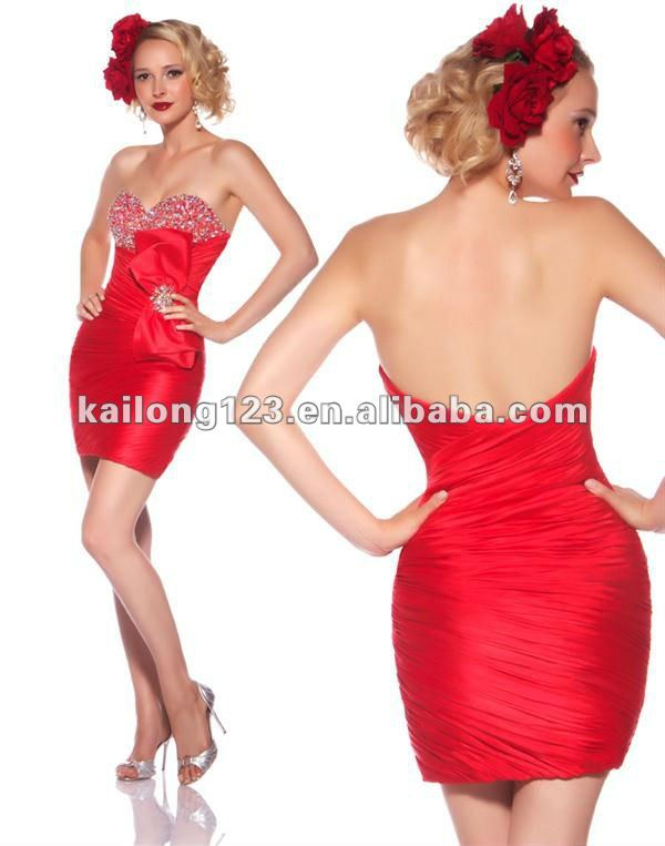 Aliexpress.com : Buy Sweetheart Fitted Short Red Ruched Beaded ...