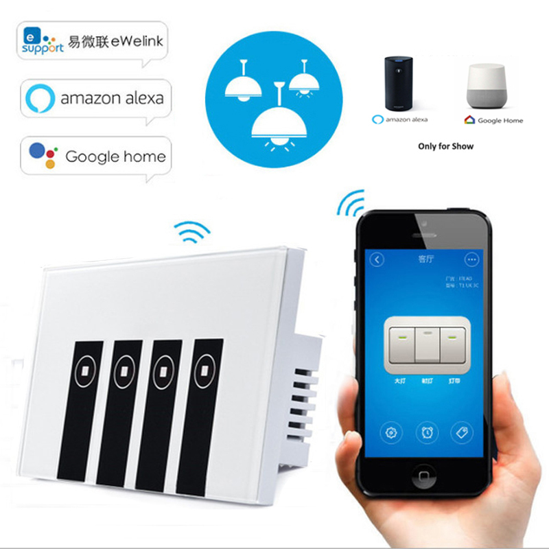 eWelink US Standard 4 Gang Wifi Control Wall Light Touch Smart Switch via IOS/Android,Work with Alexa/Google Home for Smart Home ewelink us type 1 gang 1 way wall light switch touch control panel wifi remote control via smart phone work with alexa ewelink