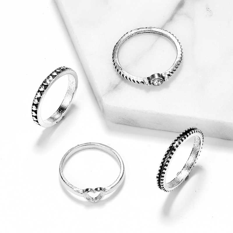Tocona Factory Price New Fashion Simple Style Silver Color Finger Rings For Women Ladies Hollow Heart Shape Jewelry 4302