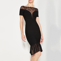 New Bandage Dress Black And White Short Sleeves Stretch Tight Fashionable Leisure Cocktail Party Bandage Dress