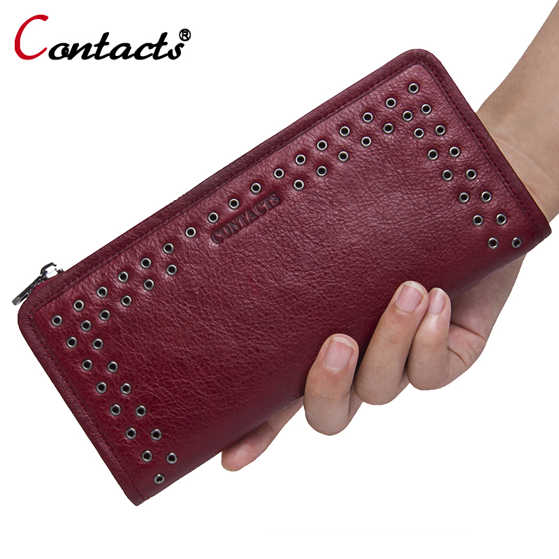 CONTACT'S Luxury Brand Women Wallets Genuine Leather wallet female purse Long Ladies Purse Clutch Bag Card Phone Holder Wallet naisibao 2017 luxury genuine leather women long wallet brand purse ladies clutch vintage designer printing wallets chinese style