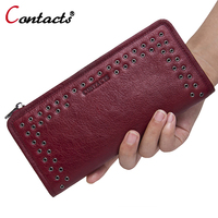 CONTACT S Luxury Brand Women Wallets Genuine Leather Wallet Female Purse Long Ladies Purse Clutch Bag