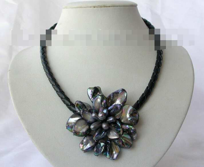 FREE SHIPPING song voge gem nanJ0756 classic black baroque freshwater pearl shell flower leather necklace