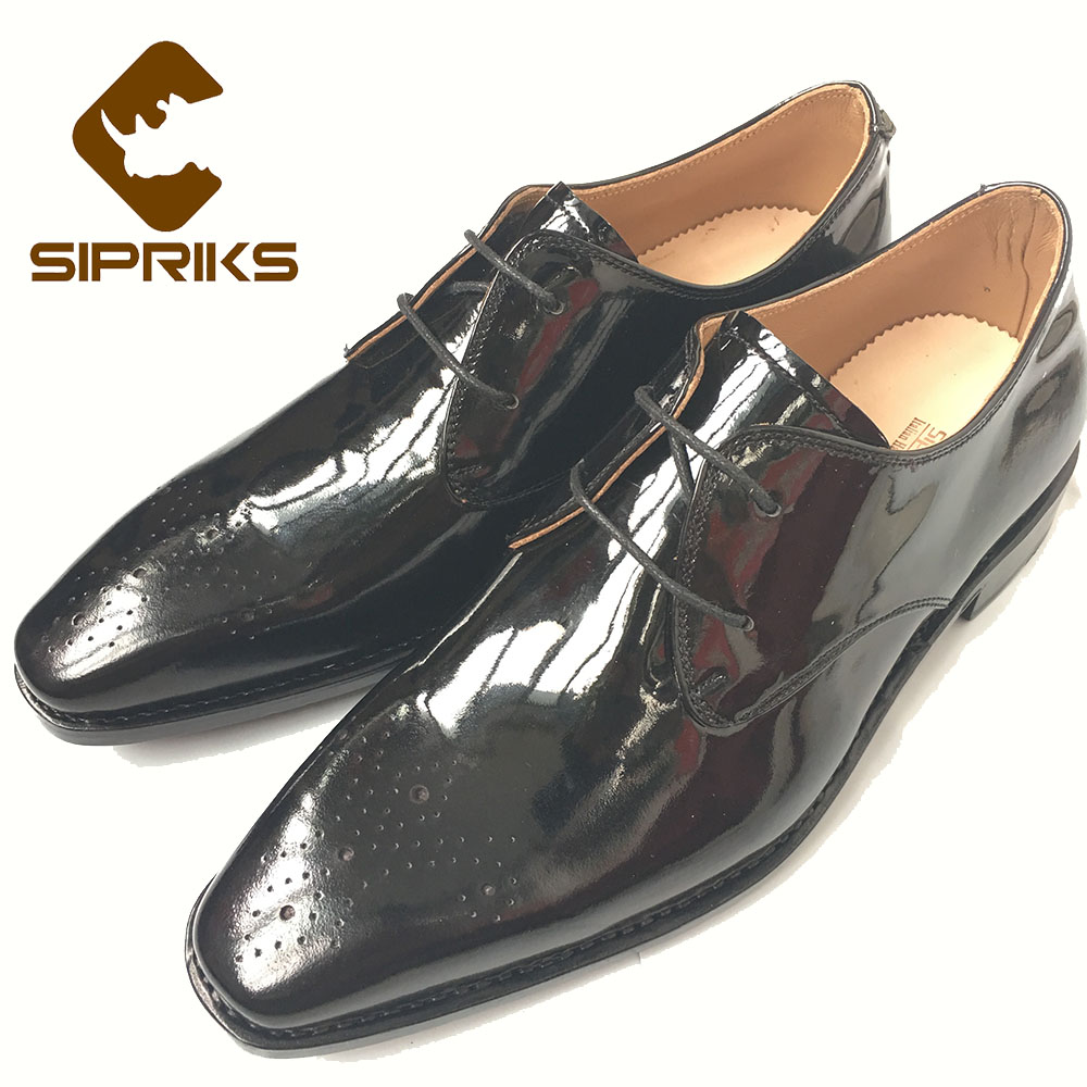 SIPRIKS bespoke Goodyear welted derby shoes elegant black carved dress shoes square toe boss tuxedo shoes grooms wedding shoes luxury bespoke goodyear welted shoes elegant mens dress shoes italian unique boss wingtips shoes italian grooms wedding shoes