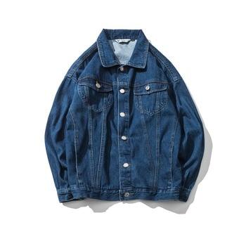 2018 Blue Casual Teens Denim Jacket  Blue Jacket Men DenimLoose  Jacket