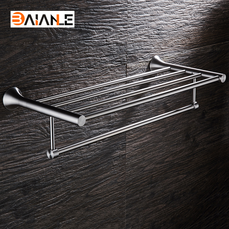 Bathroom Towel Rack Stainless Steel Brushed wall-mount towel Holder towel Shelf acessorios viborg deluxe sus304 stainless steel foldable wall mounted bathroom towel rack shelf towel holder storage