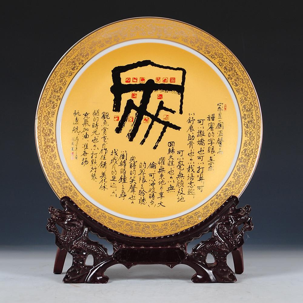 Kata cina Keramik Piring Hias Dekorasi Piring Hidangan Menggantung - Dekorasi rumah - Foto 3