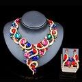 Lan palácio africano contas conjunto de jóias colar banhado a ouro e brincos conjuntos de jóias seis cores da jóia do casamento frete grátis