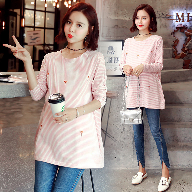 Winter Autumn Long Sleeve T-shirt For Pregnant Women Nursing Tops Maternity Clothes Breastfeeding T-shirt Feeding Tops Y829 2017 autumn maternity dress t shirt