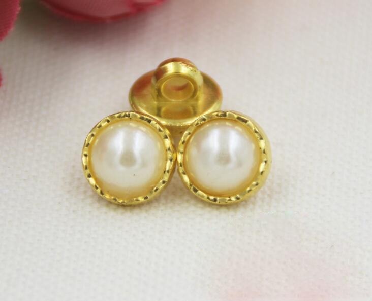 50pcs11.5mm imitation pearl button cardigan sweater Phnom Penh gold backer shirt button