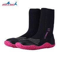New High Upper Vulcanization Scuba Dive Boots Side Zipper 5mm Neoprene Winter Cold Proof Anti slip Water Shoes Swim Fins