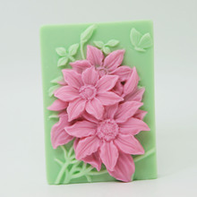 Flower Decorative Cake Silica Soap Mould Rectangle Shape 3D Craft Bath making Silicone Mold