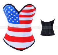 Hook Eye Boned Corset Top USA Flag Pattern Costume Rock Roll Party Basque S M L