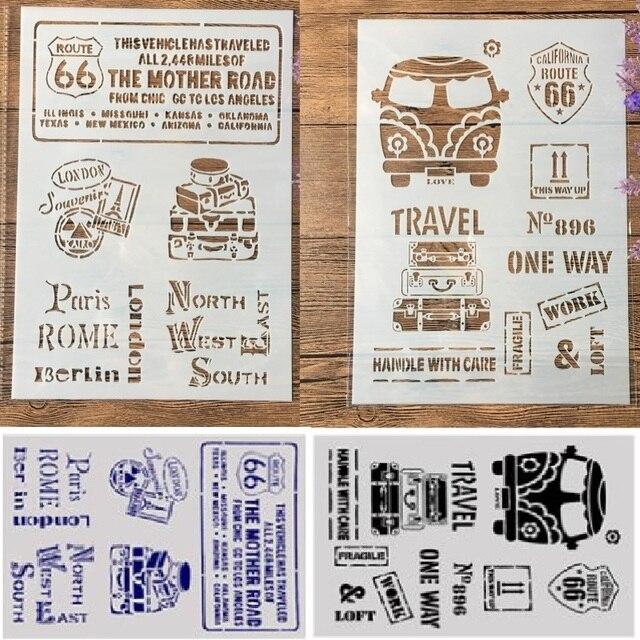 2 adet A4 otobüs rota 66 etiket DIY zanaat katmanlı şablonlar boyama Scrapbooking damgalama kabartma albümü kağıt şablonu