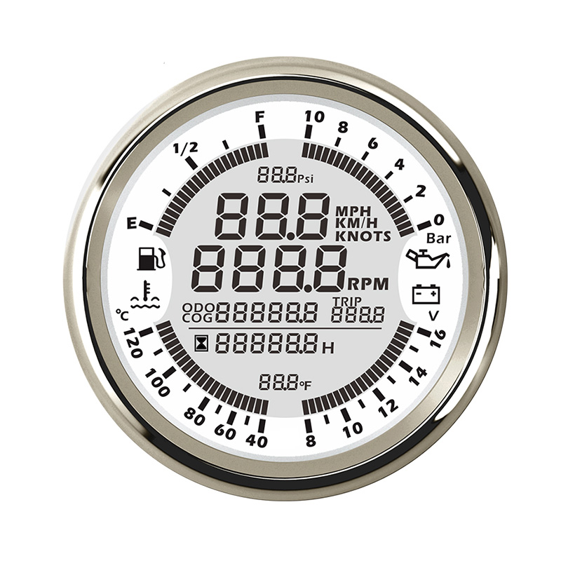 Gauge GPS Speedometer 6 in 1 Multi functional Oil Pressure Water Temperature Voltmeter Meter Fuel Level