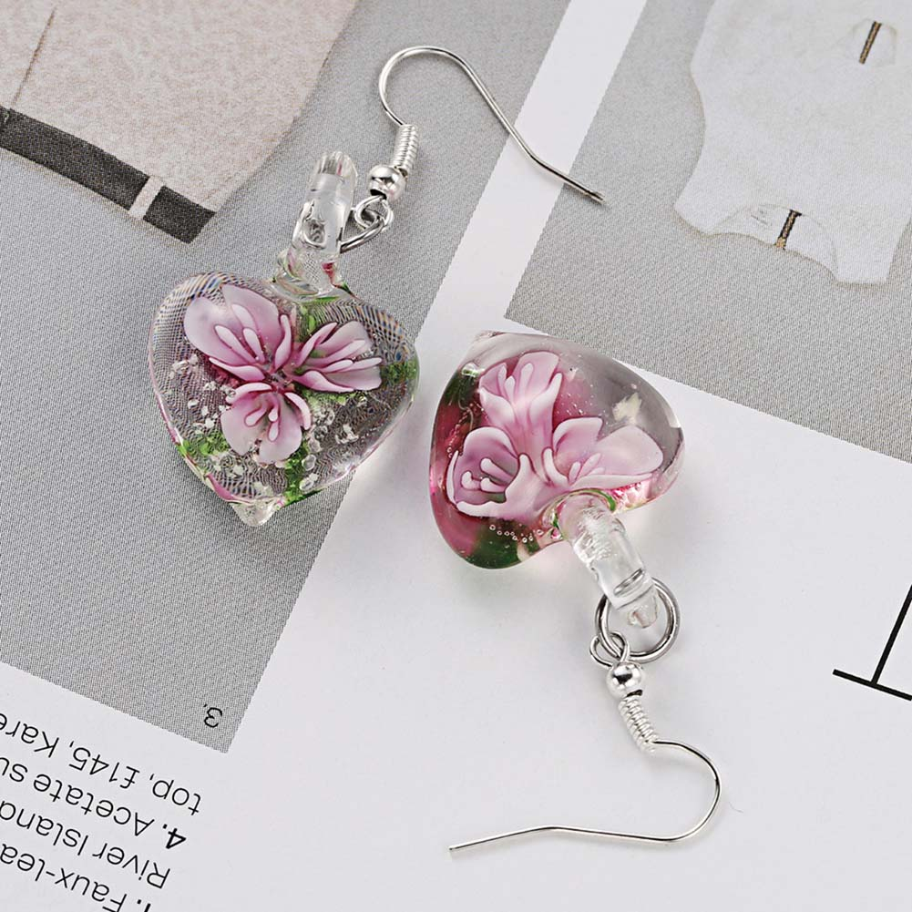 Heart Shape Pressed Flower Dangle Earrings Real Plant Dry Flower Fashion Woman Ear Jewelry Accessaries 2018 Colors Available ...