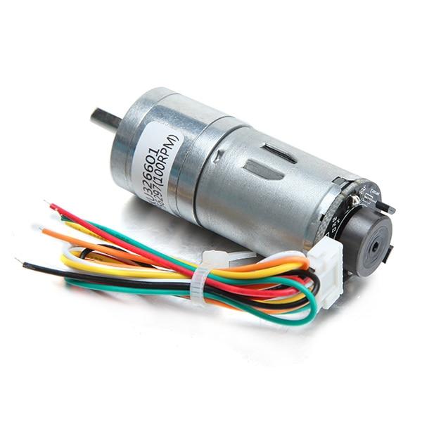 6V 100/210/300RPM Encoder Motor DC Gear Motor With Worm Gear Torque Locking